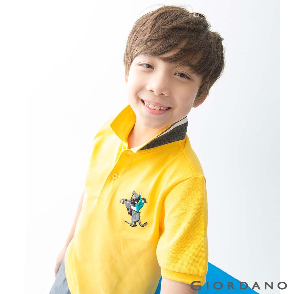 GIORDANO 童裝彩色拿破崙刺繡彈力萊卡短袖POLO衫-06 水仙花
