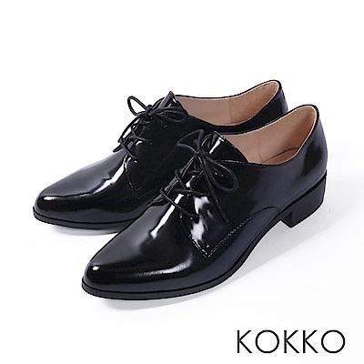 KOKKO -英國午茶經典綁帶真皮尖頭鞋-高雅黑