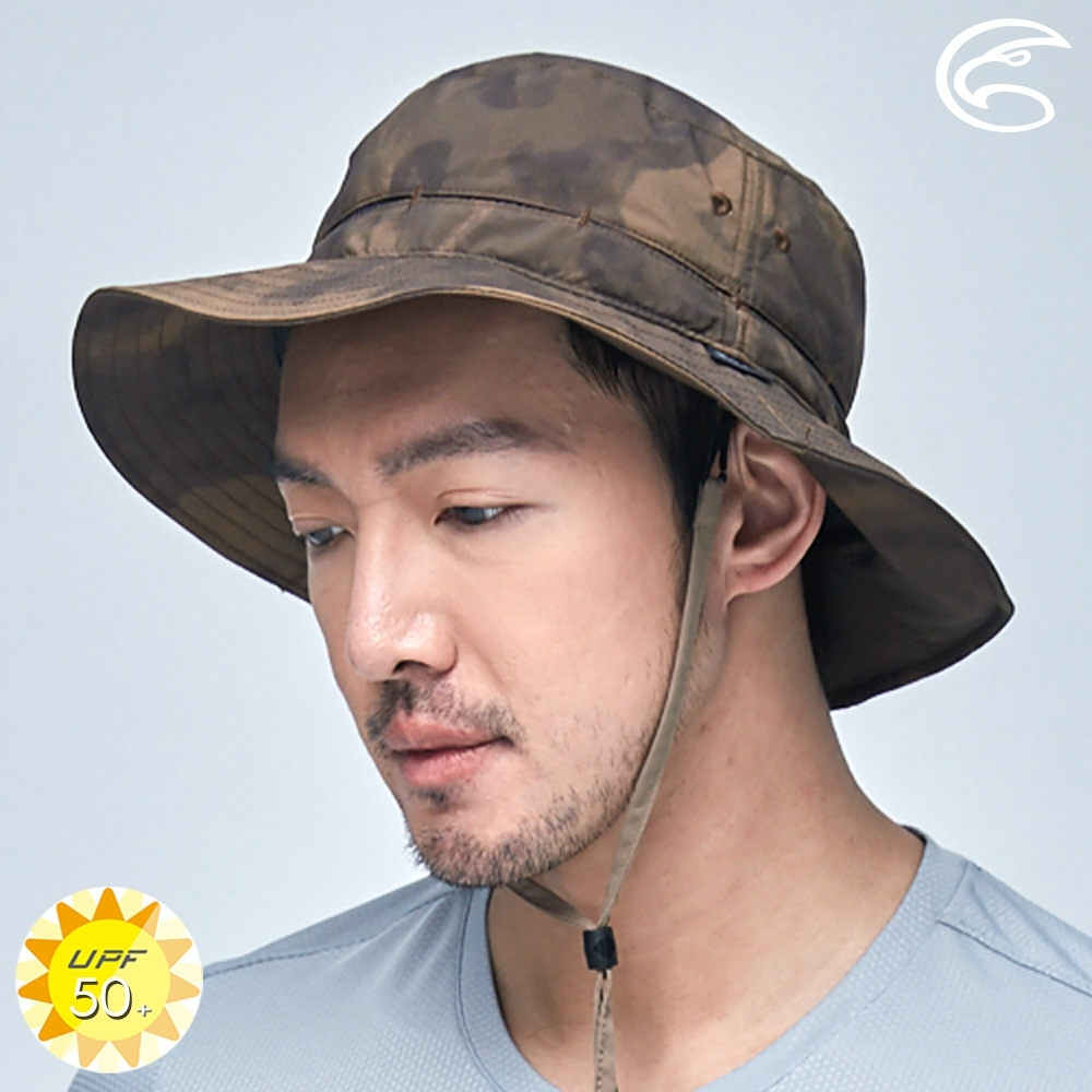 ADISI 抗UV透氣快乾撥水收納護頸兩用印花盤帽 AH21006 (M-L) / 迷霧棕