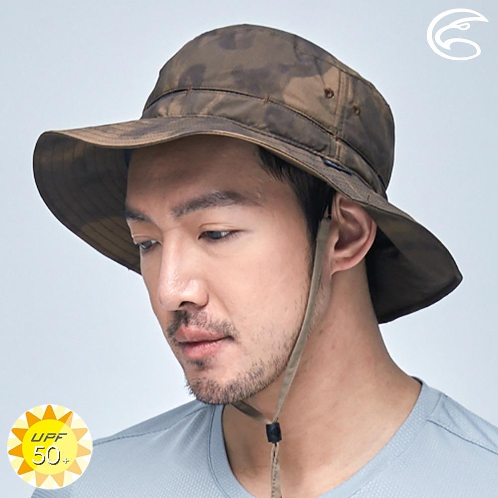 【ADISI】抗UV透氣快乾撥水收納護頸兩用印花盤帽 AH21006 (M-L) / 迷霧棕
