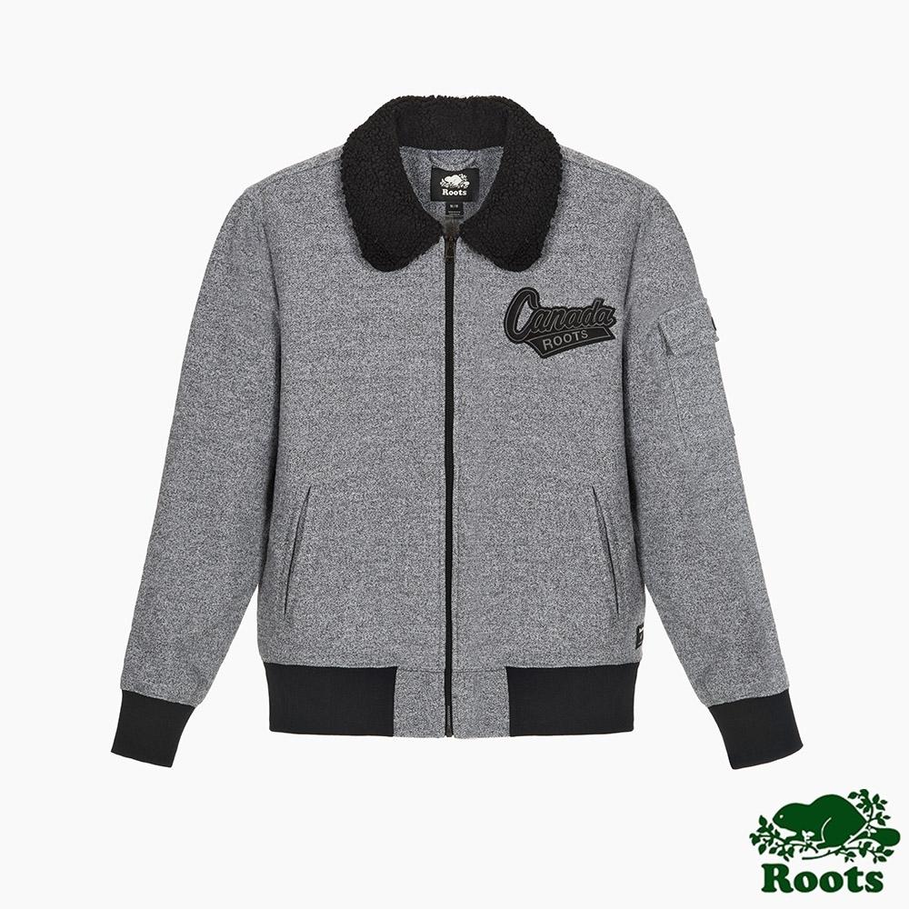 Roots男裝-椒鹽灰系列 刷毛飛行夾克-灰色