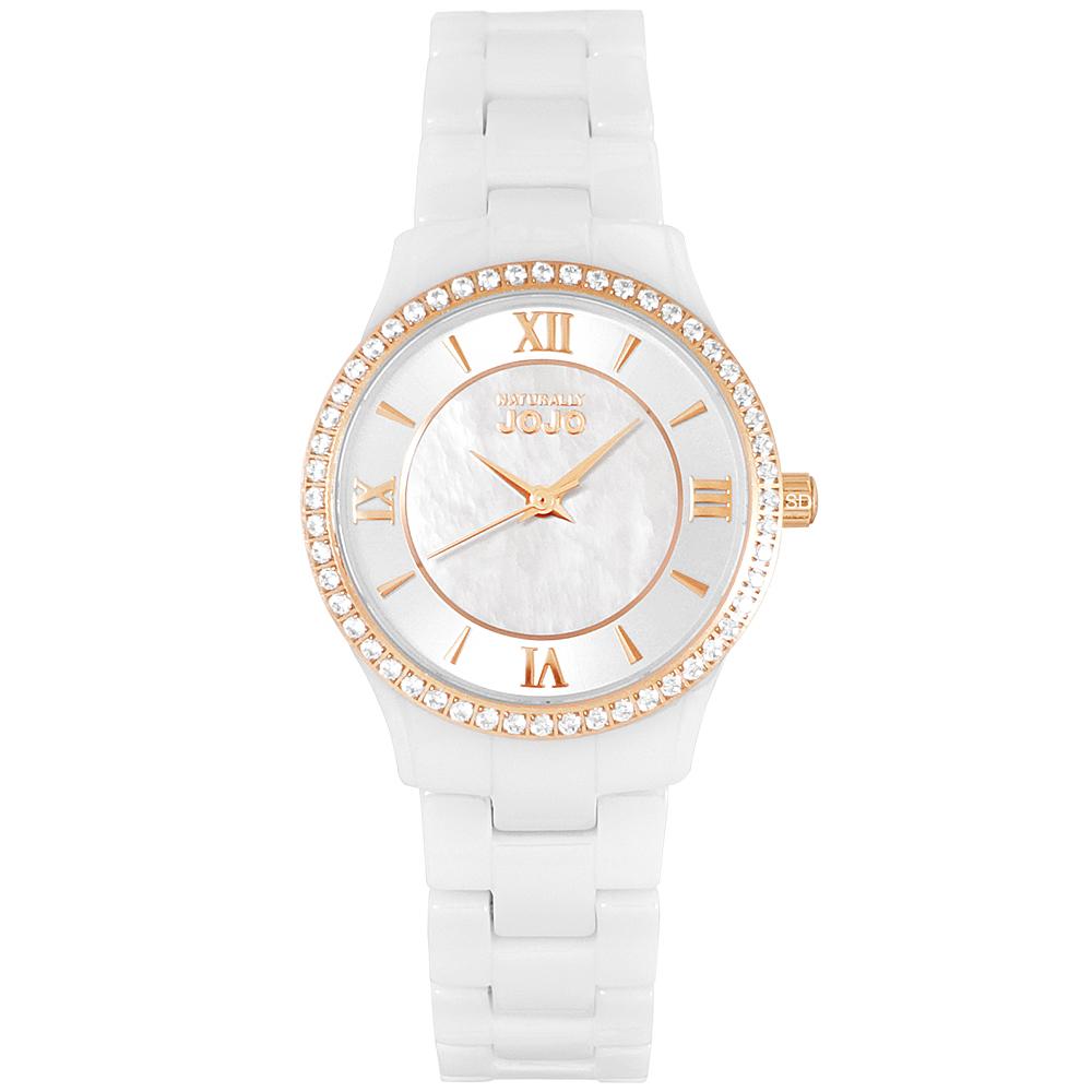 NATURALLY JOJO璀璨晶鑽珍珠貝陶瓷手錶-白X玫瑰金/30mm