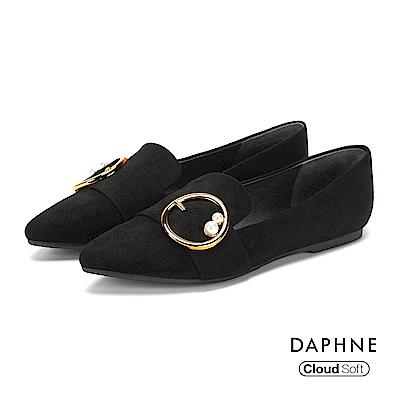 達芙妮DAPHNE 平底鞋-復古絨面金屬圓釦珠飾平底鞋-黑