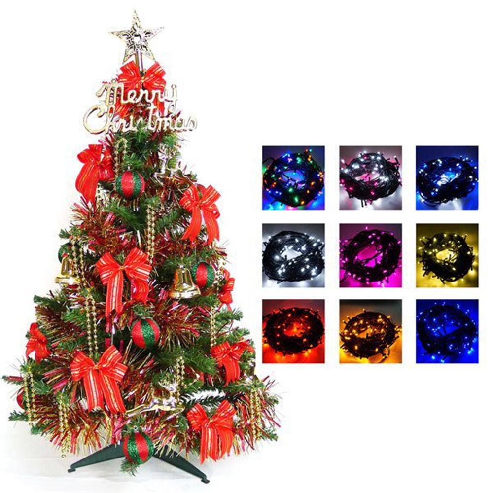 幸福3尺一般型裝飾綠聖誕樹(紅金色系)+100燈LED燈串一條(含跳機控制器)