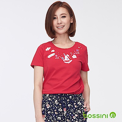bossini女裝-印花短袖T恤32桃紅