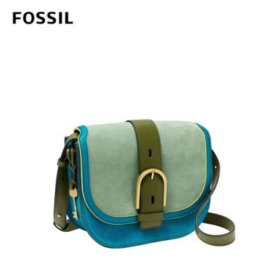 FOSSIL 母親節優惠 Wiley 真皮復古美型馬鞍包-抹綠撞色 ZB1397335