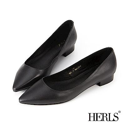 HERLS 自信女人 全真皮素面尖頭低跟鞋-黑色