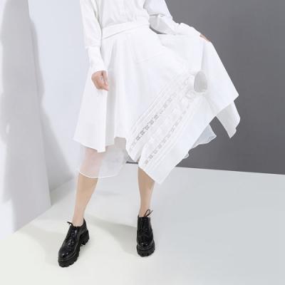 個性荷葉襬網紗不規則襯衫元素中裙F(共二色)-CLORI