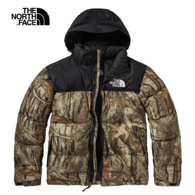【經典ICON】The North Face北面男款棕色印花防潑水連帽羽絨外套|3C8D047