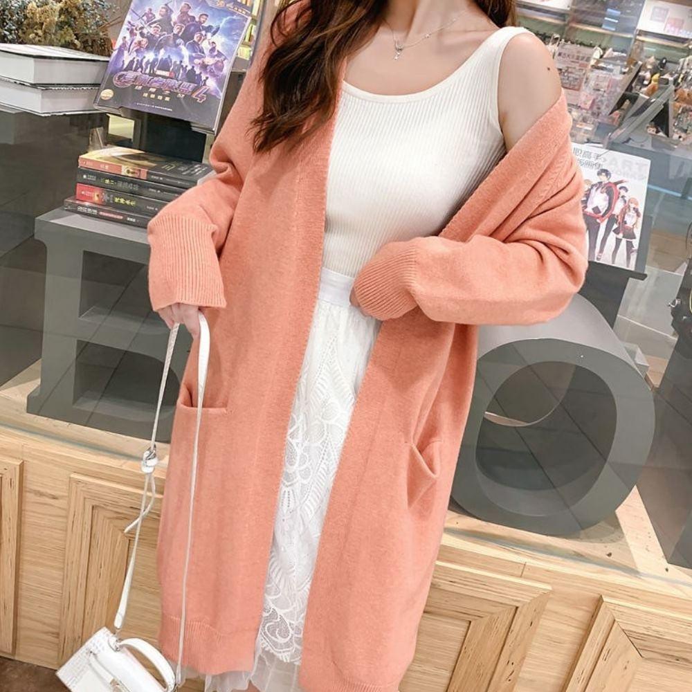 La Belleza素面厚料超長版開衫過膝束袖雙口袋針織毛衣外套 product image 1