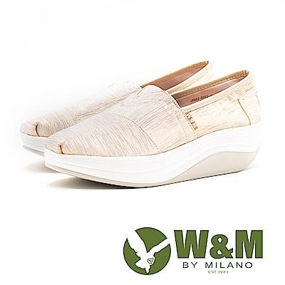 W&M BOUNCE星軌紋路 厚底休閒女鞋-金(另有黑)