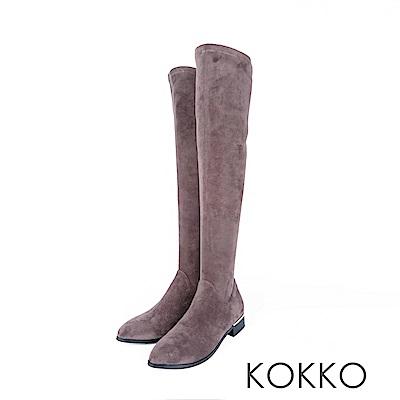 KOKKO -超顯瘦彈力金屬跟過膝襪靴 -質感灰