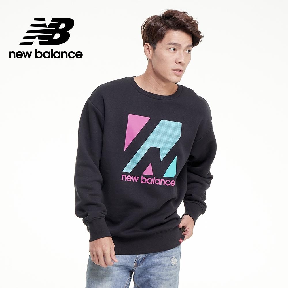【New Balance】ALL TERRAIN 胸前印花長袖厚T_男性_黑色_AMT03537BK