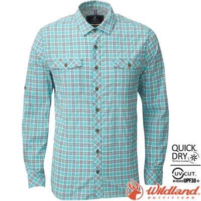 Wildland 荒野 0A81202-67湖水綠 男彈性格子長袖襯衫 抗UV/中層衣/登山休閒服/排汗衫/可當外套