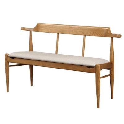 【AT HOME】日式簡約風栓木實木耐磨貓抓皮雙人餐椅/休閒椅-梅長蘇