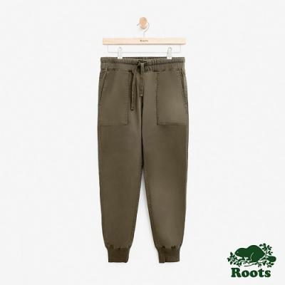 女裝Roots 縮口平織長褲-綠