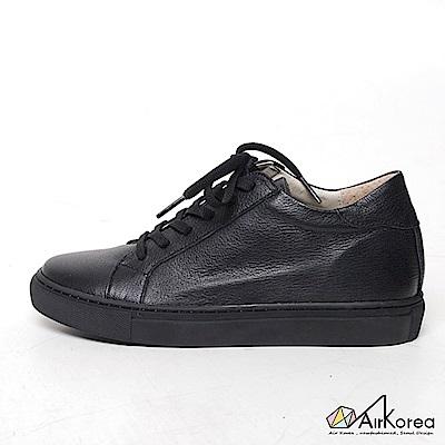 【AIRKOREA韓國空運】韓國熱賣真皮手作綁帶經典休閒鞋-增高六公分-黑