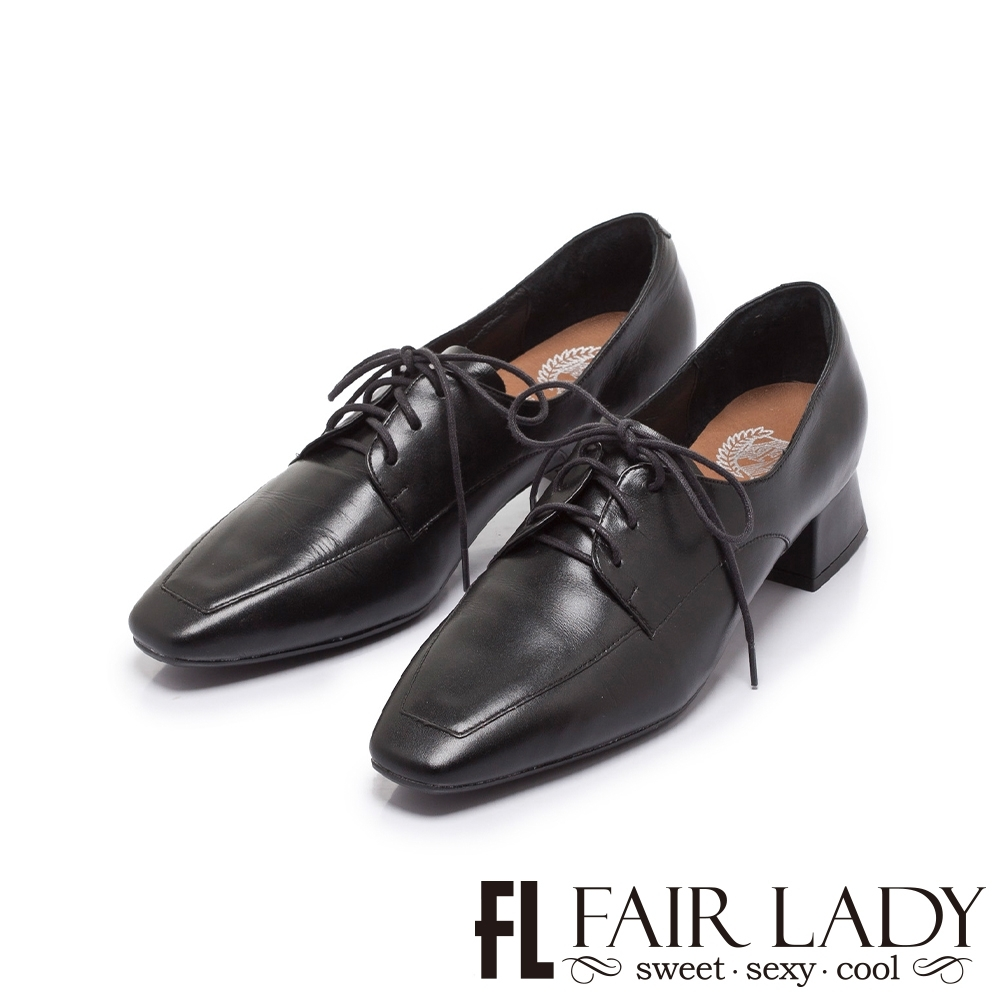 FAIR LADY 小時光 學院綁帶方頭低跟牛津鞋 黑