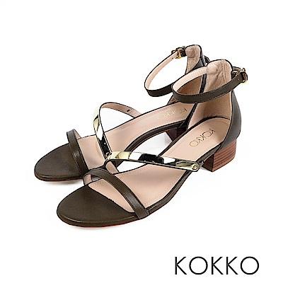 KOKKO- 女神降臨金屬曲線一字帶粗跟涼鞋-抹茶綠