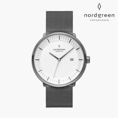 Nordgreen Philosopher 哲學家 深空灰系列 深空灰鈦鋼米蘭錶帶手錶禮盒組(附復古棕&極夜黑真皮錶帶) 40mm