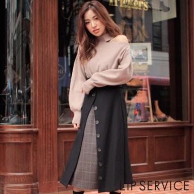 LIP SERVICE 前短後長格紋拼接長裙(2色0