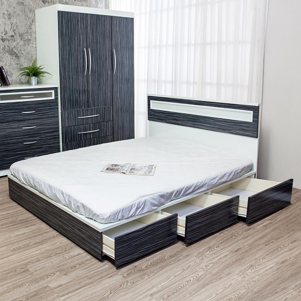 Birdie南亞塑鋼-3.5尺單人六抽屜塑鋼床組(床頭片+抽屜床底)(鐵刀木色)
