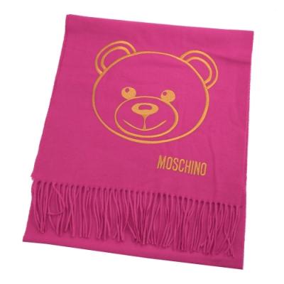 MOSCHINO電繡大臉熊熊羊毛長圍巾(桃紅 )