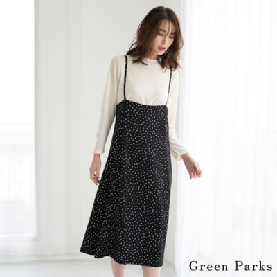 Green Parks 【SET ITEM】素面上衣+點點吊帶洋裝