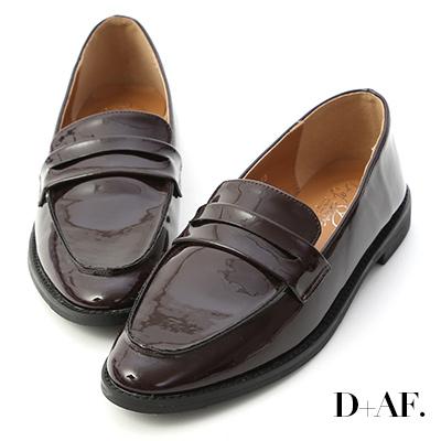 D+AF 英倫年代.經典款漆皮紳士樂福鞋*酒紅