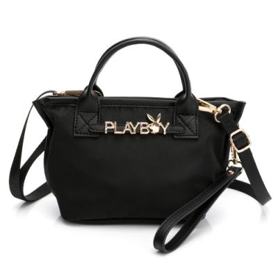 PLAYBOY-  化妝包(附手挽帶與長背帶) Function系列 -黑色