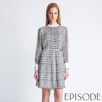 EPISODE - 優雅幾何格紋拼接造型雪紡洋裝(黑)