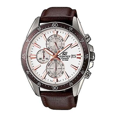 EDIFICE 經典三針三圈設計視距儀賽車皮帶錶(EFR-546L-7A)-咖啡X白面/4