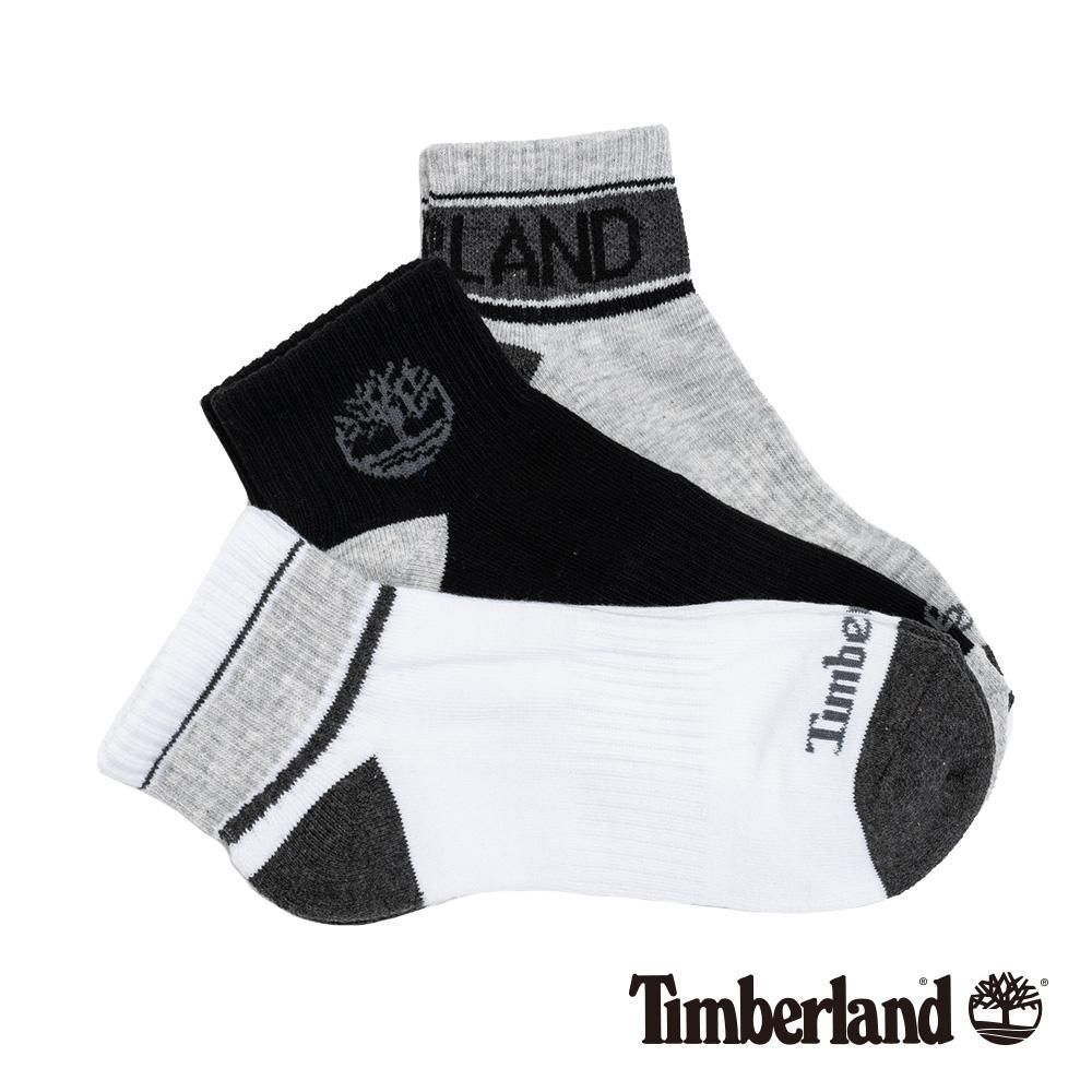 Timberland 男款黑灰白三件組短筒襪|A1EN9
