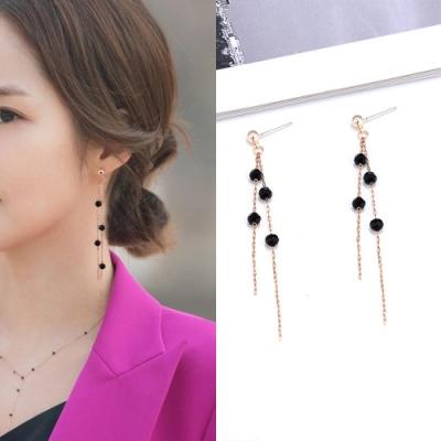 Hera 赫拉 韓款925銀韓劇她的私生活黑晶珠鍊耳針/耳環