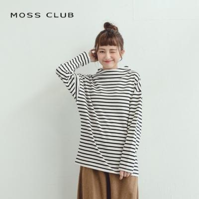 【MOSS CLUB】百搭立領條紋造型-上衣(三色)