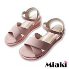 Miaki-涼鞋粉系百搭寬帶楔型鞋-粉