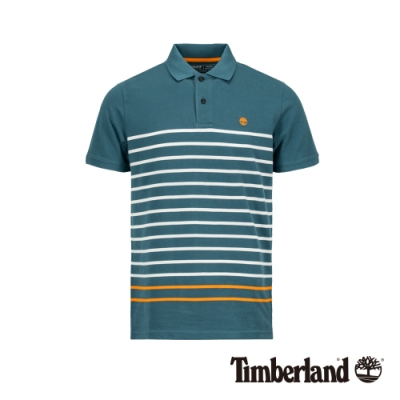 Timberland 男款藍色線條撞色POLO衫 A1ZJR