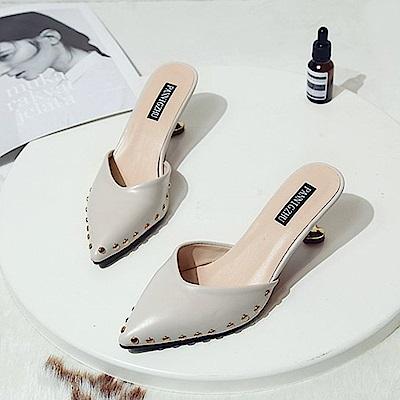 KEITH-WILL時尚鞋館 歡樂單品時髦休閒星光細跟鞋-米色