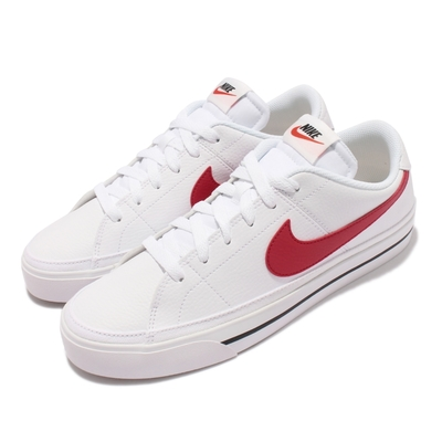 Nike 休閒鞋 Court Legacy 運動 男鞋 後跟NIKE壓印 皮革 復古網球風 穿搭 白 紅 CU4150-105