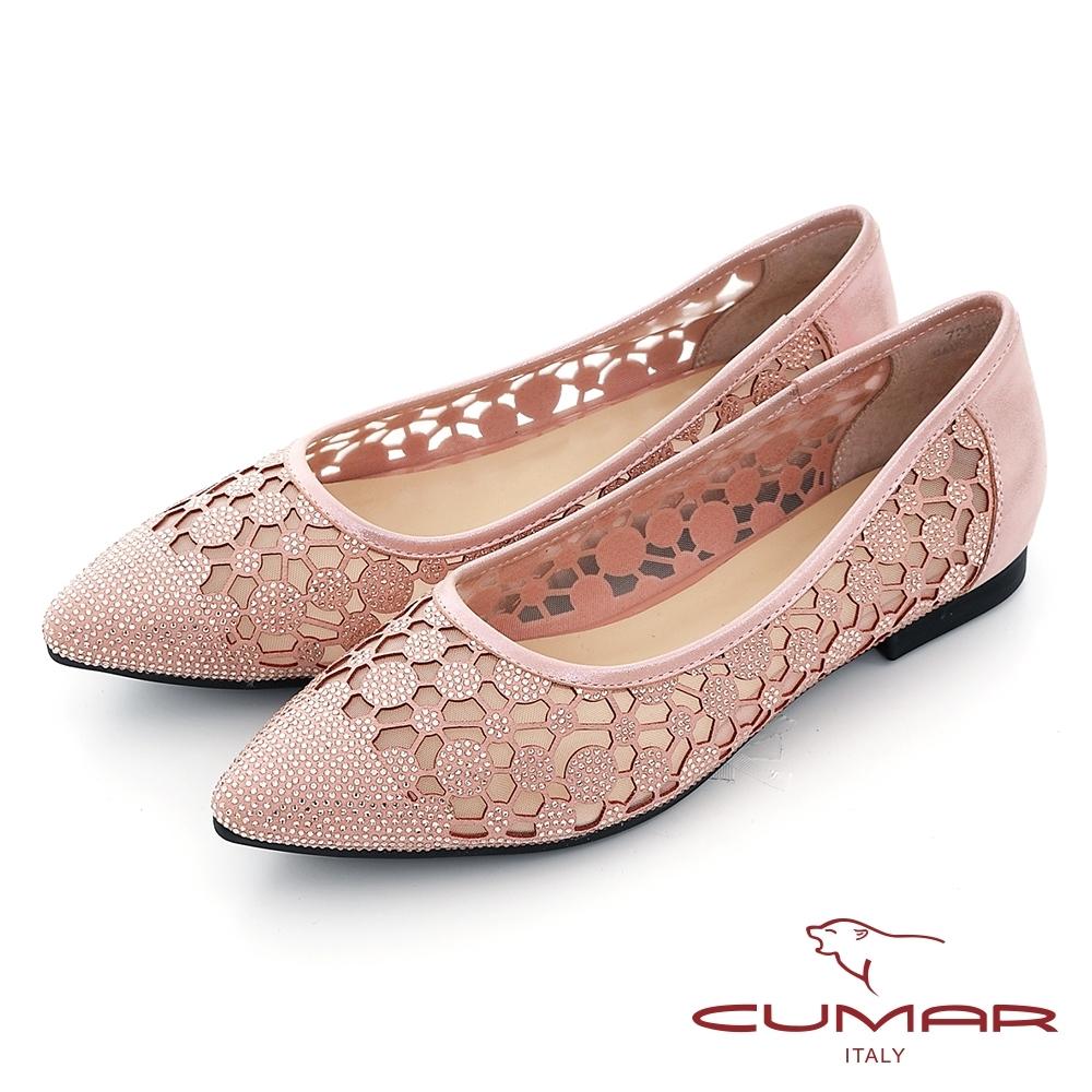 【CUMAR】花朵排鑽尖頭平底娃娃鞋-粉金