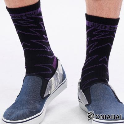 地藏小王 BLUE WAY - 地藏閃電中筒襪(黑紫)