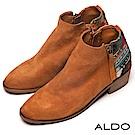 ALDO 原色真皮雙金屬拉鍊木紋粗跟短靴~典雅棕色