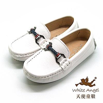 天使童鞋 真皮紳士懶人鞋 (中-大童)E8016-白