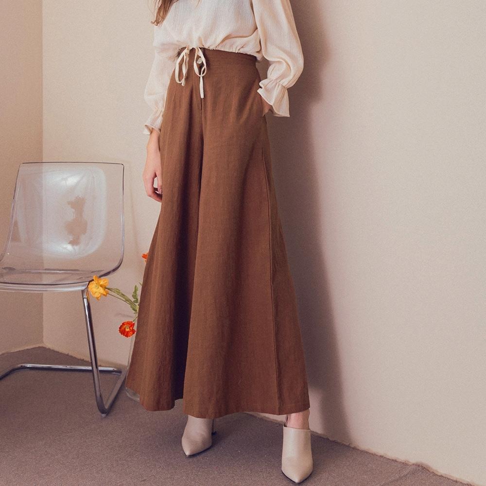 AIR SPACE LADY 棉感雙釦造型寬褲(咖啡)