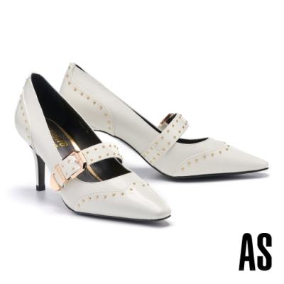 高跟鞋 AS 異材質拼接金屬鉚釘帶釦牛皮小方頭高跟鞋-白
