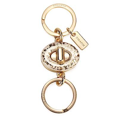 COACH 經典C LOGO樹脂橢圓旋扣式雙鑰匙圈(可拆)-白色