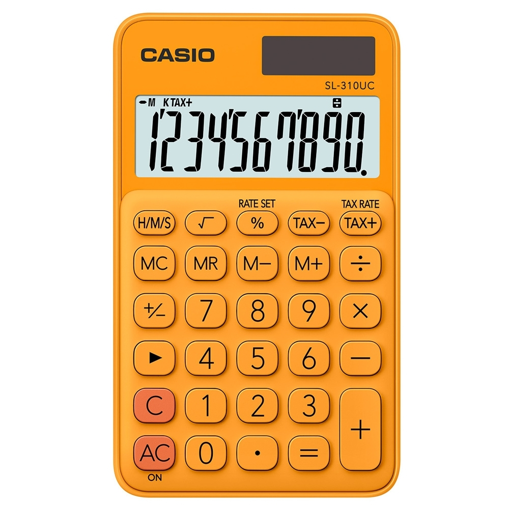 CASIO 10位元甜美馬卡龍輕巧口袋型計算機(SL-310UC-RG)-柳橙橘