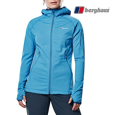 【Berghaus貝豪斯】女款輕量彈性透氣連帽刷毛保暖外套H22F35藍色