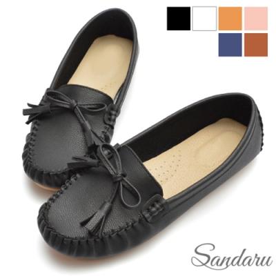 山打努SANDARU-大尺碼鞋 豆豆鞋 MIT真皮墊蝶結莫卡辛平底鞋-黑