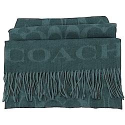 大COACH LOGO字樣羊毛圍巾